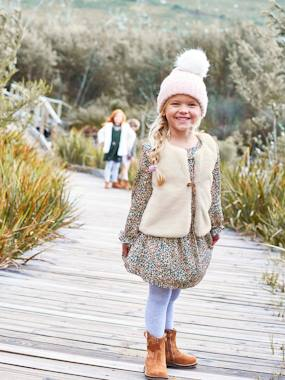 Vertbaudet Collection-Girls-Dress + Faux Fur Waistcoat Outfit