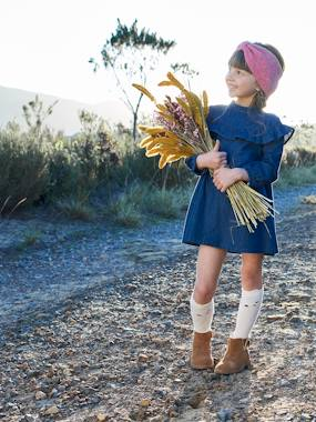 Vertbaudet Collection-Girls-Dresses-Denim Dress with Ruffles, for Girls