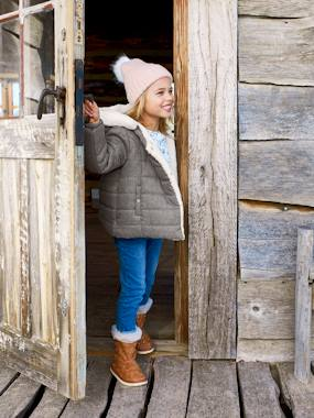 Vertbaudet Collection-Hooded Jacket with Faux Fur Lining, for Girls