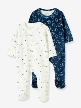 pyjama-Baby-Pack of 2 Velour Sleepsuits for Babies, Press-Studs on the Front