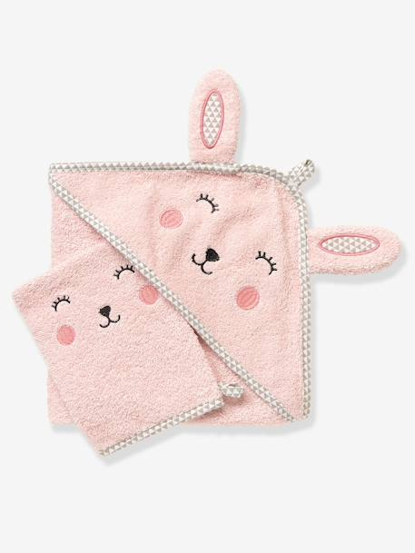 Baby Hooded Bath Cape With Embroidered Animals Grey blue+Pink+White - vertbaudet enfant