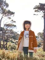 Hooded Coat in Shearling-type Faux Leather, for Girls  - vertbaudet enfant