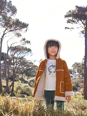 Girls-Coats & Jackets-Hooded Coat in Shearling-type Faux Leather, for Girls