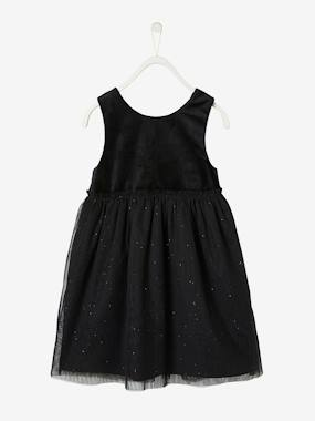 Vertbaudet Collection-Girls-Dresses-Occasion Dress in Velour & Iridescent Tulle for Girls