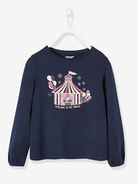 Girls-Tops-T-Shirts-Long-Sleeved Top with Circus Motif, for Girls