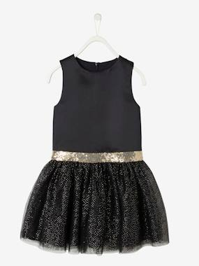 Halloween-Occasion Dress in Sateen & Iridescent Tulle for Girls