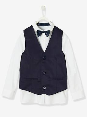 Vertbaudet Collection-Boys-Special Occasion 3-Item Set: Shirt + Waistcoat + Bow-tie, for Boys