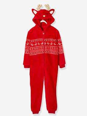 Girls-Nightwear-Christmas Special Onesie, in Plush Fabric, for Girls