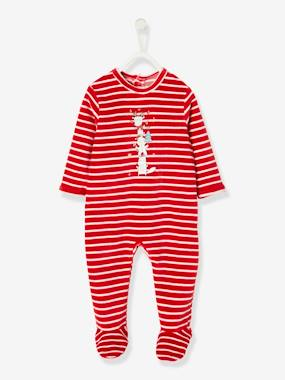 Christmas collection-Baby-Striped & Printed Christmas Special Sleepsuit, for Baby Girls