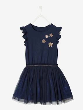 Vertbaudet Collection-Girls-Occasion Wear Dress with Sequinned Stars, for Girls