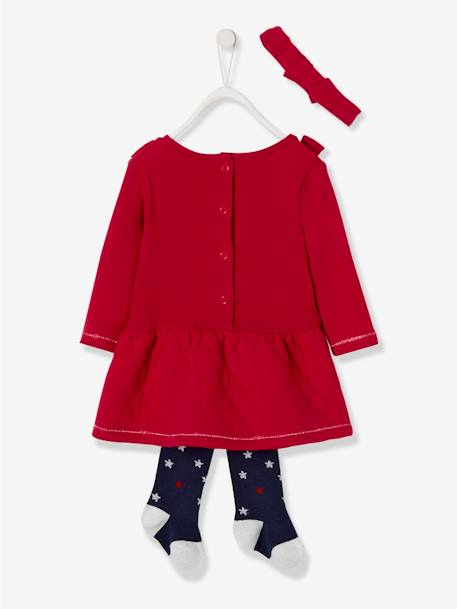 Fleece Dress + Headband + Tights Outfit, Special Occasion Wear, for Babies PINK MEDIUM SOLID+RED DARK SOLID - vertbaudet enfant