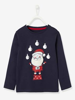 Christmas collection-Boys-Long-Sleeved Christmas Top with Plush Details for Boys