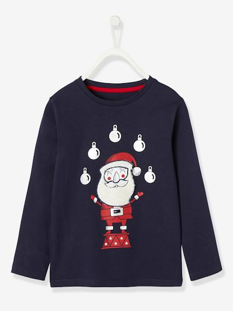 Long-Sleeved Christmas Top with Plush Details for Boys BLUE DARK SOLID WITH DESIGN - vertbaudet enfant