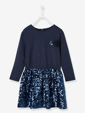 Vertbaudet Collection-Girls-Dresses-Occasion Dress with Sequins for Girls