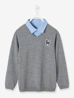 Boys-Cardigans, Jumpers & Sweatshirts-Jumper with Shirt Collar, 2-in-1 Effect for Boys