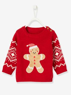 Vertbaudet Collection-Baby-Christmas Special Jumper for Girls, Gingerbread Man
