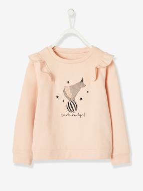 Vertbaudet Collection-Girls-Cardigans, Jumpers & Sweatshirts-Sweatshirt with Ruffles, Circus Motif & Embroidered Details for Girls
