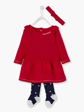 Festive favourite-Fleece Dress + Headband + Tights Outfit, Special Occasion Wear, for Babies