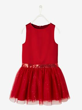 Black Friday-Girls-Occasion Dress in Sateen & Iridescent Tulle for Girls