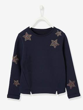 Vertbaudet Collection-Girls-Cardigans, Jumpers & Sweatshirts-Sweatshirt with Glittery Stars for Girls