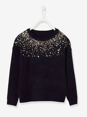 Vertbaudet Collection-Girls-Cardigans, Jumpers & Sweatshirts-Jumper with Sequins, for Girls