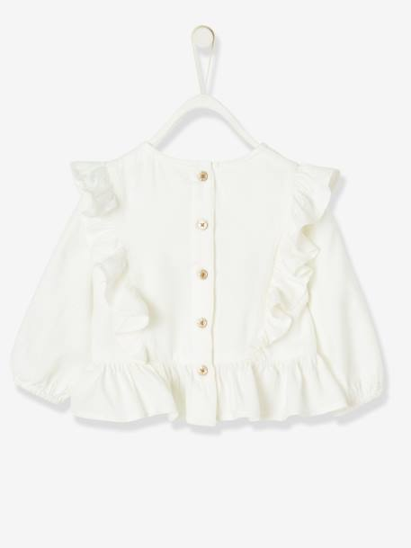 Special Occasion Blouse with Large Ruffles, for Baby Girls WHITE LIGHT SOLID - vertbaudet enfant