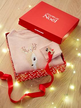 Collection Vertbaudet-Coffret Noël pull fille motif biche irisé et sa broche pailletée