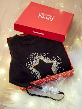 Vertbaudet Collection-Girls-Magic Star Gift Set with Sequinned Jumper + Headband for Girls