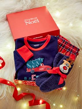 Gift boxes-Merry Christmas Gift Box with Pyjamas + Fancy Socks, for Boys