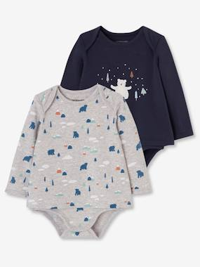 Baby-T-shirts & Roll Neck T-Shirts-Pack of 2 T-Shirt Bodysuits for Newborn Babies