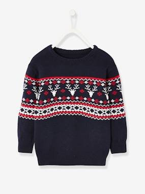 Boys-Cardigans, Jumpers & Sweatshirts-Jacquard Knit Jumper with Reindeer Motifs for Boys