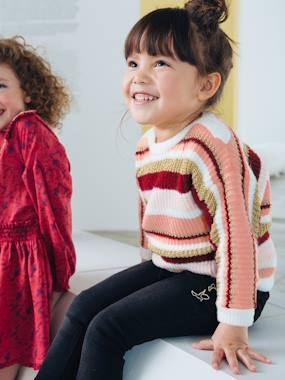 Girls-Cardigans, Jumpers & Sweatshirts-Iridescent Striped Jumper, for Girls