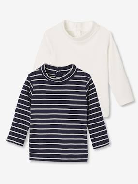 Baby-T-shirts & Roll Neck T-Shirts-Roll Neck T-Shirts-Pack of 2 Polo Necks for Baby Boys
