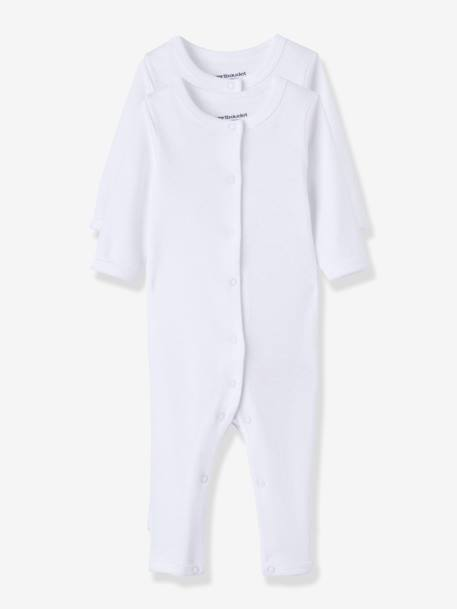 Baby Pack of 2 Long Sleeve & Full Leg Bodysuits WHITE LIGHT SOLID - vertbaudet enfant