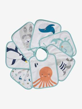 Nursery-Mealtime-Bibs-Pack of 7 Bibs for Babies, Sea Animals, by VERTBAUDET
