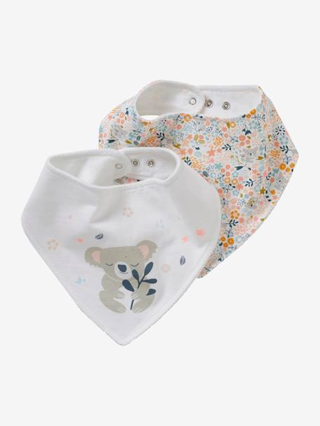 Pack of 2 Bandana-Style Bibs BLUE DARK SOLID WITH DESIGN+PINK LIGHT SOLID WITH DESIGN+WHITE DARK ALL OVER PRINTED+WHITE LIGHT ALL OVER PRINTED - vertbaudet enfant