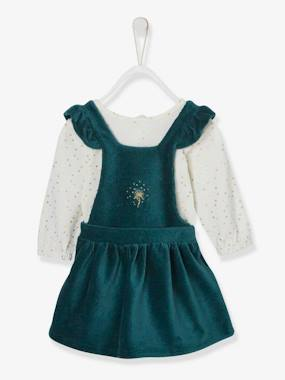 Vertbaudet Collection-Baby-Dresses & Skirts-Corduroy Dress + Bodysuit Outfit, for Newborn Babies
