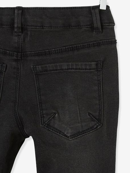 Jeans with Silvery Stripe on the Sides, for Girls BLACK DARK SOLID WITH DESIGN - vertbaudet enfant