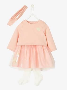 Baby-Outfits-Special Occasion Dress + Headband + Tights Outfit, for Baby Girls