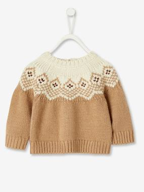 Baby-Jumpers, Cardigans & Sweaters-Jacquard Knit Jumper for Newborn Babies