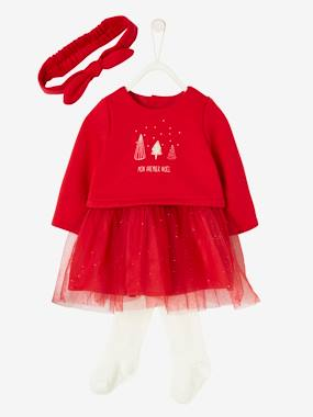 Vertbaudet Collection-Baby-Dresses & Skirts-Christmas Outfit, Dress + Tights + Headband for Newborn Baby
