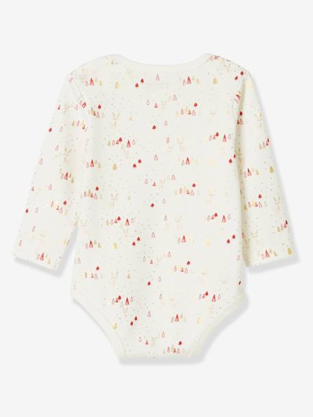 Pack of 2 Bodysuits for Baby Girls, Christmas Special WHITE LIGHT SOLID WITH DESIGN - vertbaudet enfant