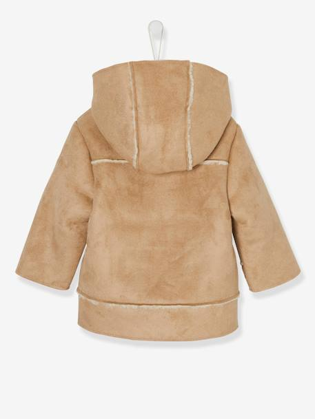 Jacket in Shearling-Type Leather, for Baby Boys BROWN LIGHT SOLID - vertbaudet enfant