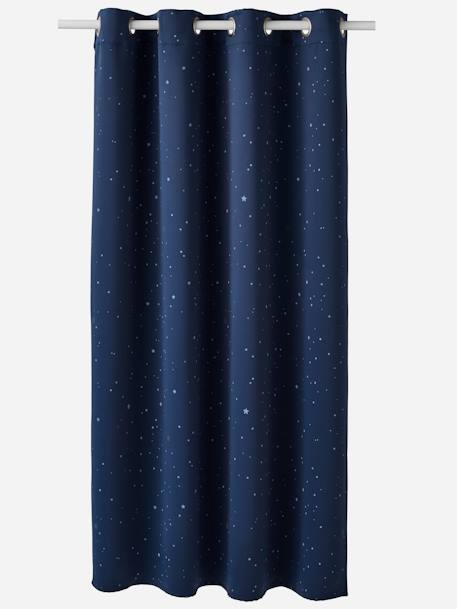 Glow-in-the-Dark Opaque Curtain BLUE DARK ALL OVER PRINTED - vertbaudet enfant
