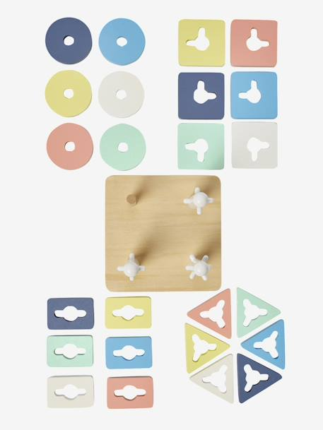 Game with Stackable Shapes WHITE MEDIUM SOLID WITH DESIGN - vertbaudet enfant