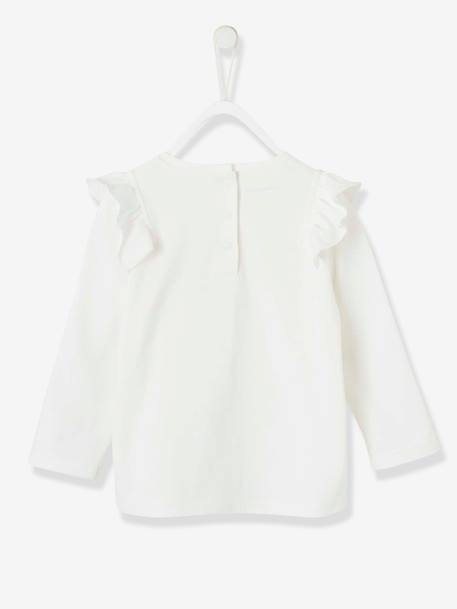 Top with Ruffle & Sequins, for Baby Girls WHITE LIGHT SOLID WITH DESIGN - vertbaudet enfant