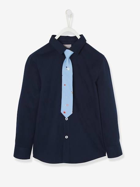Christmas Special Shirt & Tie, for Boys BLUE DARK SOLID - vertbaudet enfant