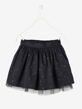 Vertbaudet Collection-Girls-Skirts-Reversible Skirt: Iridescent Motifs or Pointelle Tulle, for Girls