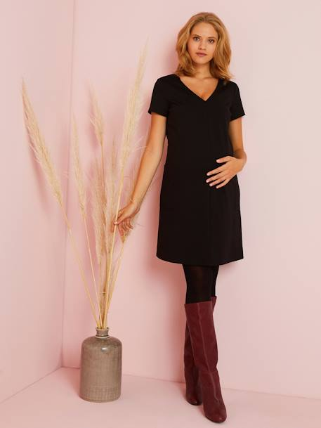 Plain Knitted Maternity Dress with Large Pockets BLACK DARK SOLID - vertbaudet enfant