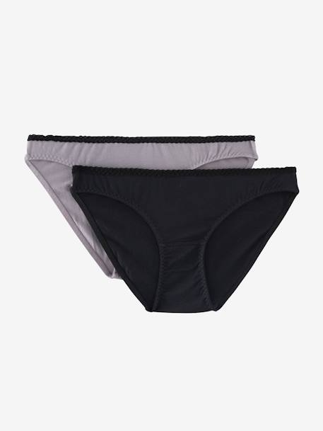 Pack of 2 Maternity Briefs with Contrasting Lace BLACK DARK SOLID+RED DARK SOLID - vertbaudet enfant